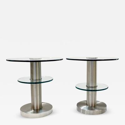 Gio Ponti Gio Ponti 1990s Fontana Arte Pair of Clear Glass and Nickel Round Side Tables