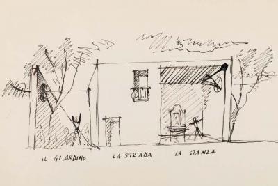 Gio Ponti Gio Ponti Architectural Drawing Disegno di una Villa a Bordighera