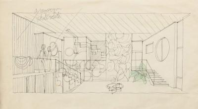 Gio Ponti Gio Ponti Architectural Drawing Schizzo dinterni di Villa Caracas