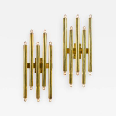 Gio Ponti Gio Ponti Brass Multi Cylinder Sconces for Candle Italy 1970s