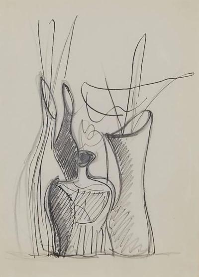 Gio Ponti Gio Ponti Drawing Disegno Di Tre Vasi in Ceramica Italy 1946