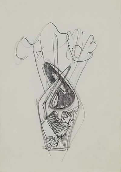 Gio Ponti Gio Ponti Drawing Vasi Incrociati Italy 1950