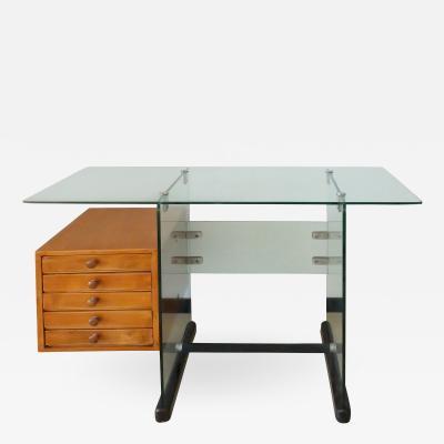 Gio Ponti Gio Ponti Italian Mid Century Modern Wood and Glass Desk for Vetrocoke 1939