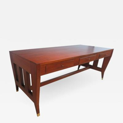 Gio Ponti Gio Ponti Large Desk Library Table with 3 Drawers and Brass Sabots