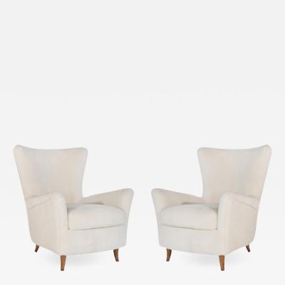 Gio Ponti Gio Ponti Lounge Chairs in Shearling for the Hotel Bristol circa 1950s