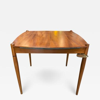 Gio Ponti Gio Ponti Mansonia Walnut Wood Italian Game Table with Green Felt Top 1958