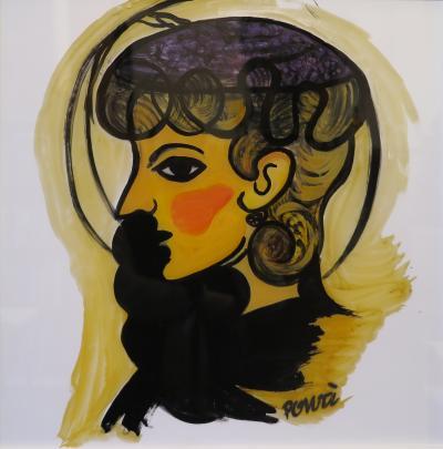 Gio Ponti Gio Ponti Painting Donna Con Cappellino