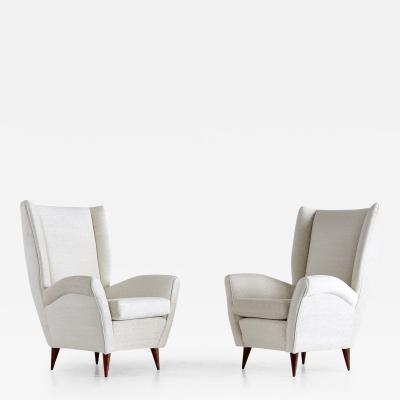 Gio Ponti Gio Ponti Pair of High Back Armchairs Late 1940s