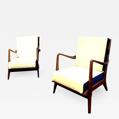 Gio Ponti Gio Ponti Pair of Mid Century Club Chairs Model n 516