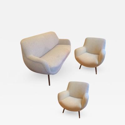 Gio Ponti Gio Ponti Set Newly Reupholstered in Maharam Boucle Cloth