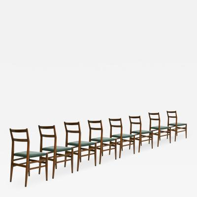 Gio Ponti Gio Ponti Set of Eight Ash Wood And Green Leather Leggera Chairs Italy 1951