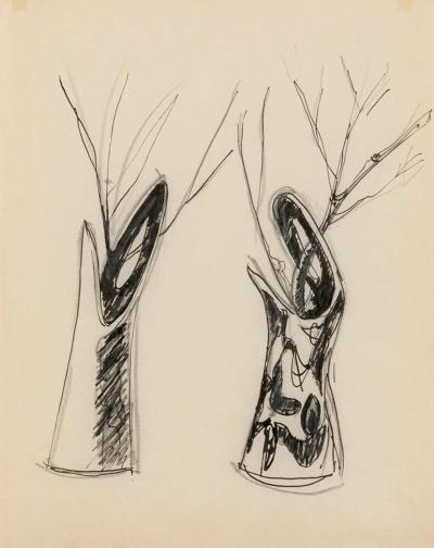 Gio Ponti Gio Ponti Sketch Disegni per Vasi Incrociatifor