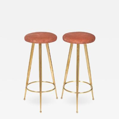 Gio Ponti Gio Ponti Style Brass Bar Stools