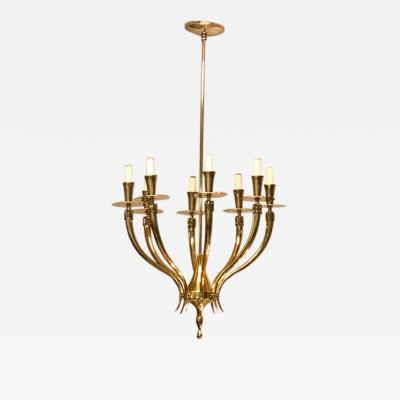 Gio Ponti Gio Ponti Style Brass Chandelier with 8 Lights 1950s