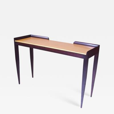 Gio Ponti Gio Ponti Style Console Table in Italian Walnut and Gold Finish on Gesso Top