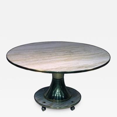 Gio Ponti Gio Ponti Style Italian Round Travertine Marble and Brass Dining Table