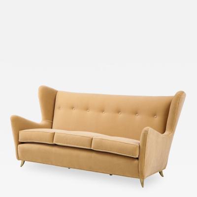 Gio Ponti Gio Ponti Style Italian Wingback Sofa In Mohair Upholstery