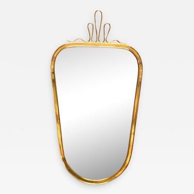 Gio Ponti Gio Ponti Style Midcentury Small Brass Wall Mirror 1950s