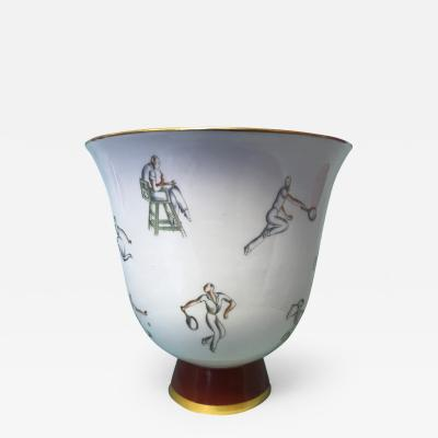 Gio Ponti Gio Ponti Tennis Themed Vase for Richard Ginori