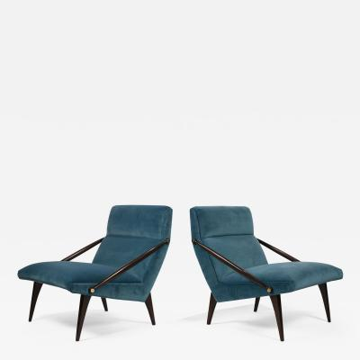 Gio Ponti Gio Ponti Velvet Lounge Chairs in Walnut Brass for M Singer and Sons 1950s