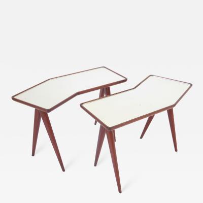Gio Ponti Gio Ponti Walnut Pair of Side Tables Mirrored Glass Tops Asymmetrical Forms