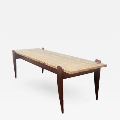 Gio Ponti Gio Ponti for M Singer Sons Walnut and Travertine Coffee Table