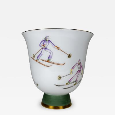 Gio Ponti Gio Ponti for Richard Ginori Vase with Ski Theme