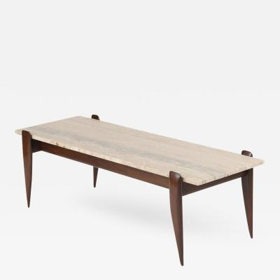 Gio Ponti Gio Ponti for Singer Sons Walnut and Travertine Coffee Table
