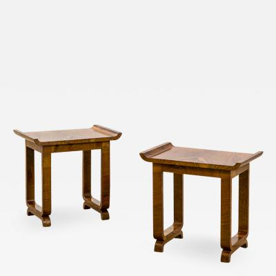 Gio Ponti Gio Ponti in the Style of Couple of Wood Low Tables or Poufs 50s