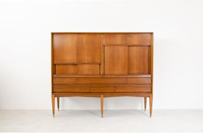 Gio Ponti Gio Ponti light walnut cabinet with four compartments hidden