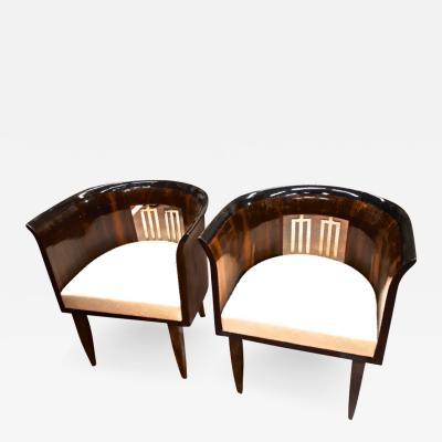 Gio Ponti Gio Ponti rarest art deco pair of chair with silver back harp and veneer wood