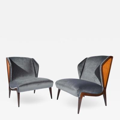 Gio Ponti Gio Ponti style Cane Embellished Wingback Easy Chairs in Walnut circa 1955