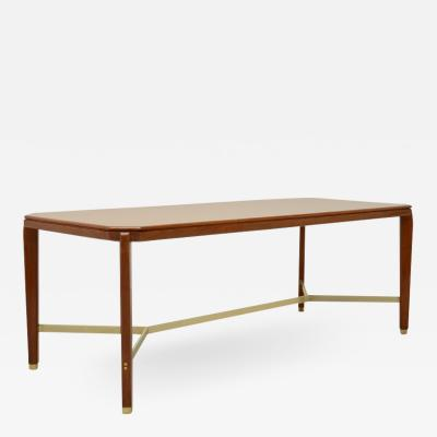 Gio Ponti Gio Ponti table in blond walnut with cross in solid brass