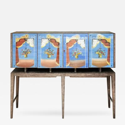Gio Ponti Important Gio Ponti Cabinet With Painted Glass Panels by Fontana Arte ca 1939