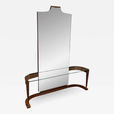 Gio Ponti Italian Crowned Curved Console Table Full Mirror Style of Gio Ponti ITALY 1950s