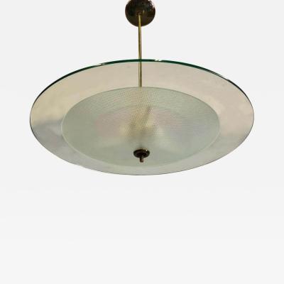 Gio Ponti Italian Glass and Brass Chandelier by Gio Ponti Pietro Chiesa for Fontana Arte