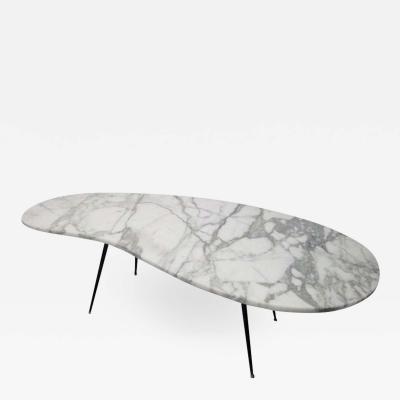 Gio Ponti Italian Kidney Shaped Marble Top and Iron Coffee Table Style Gio Ponti