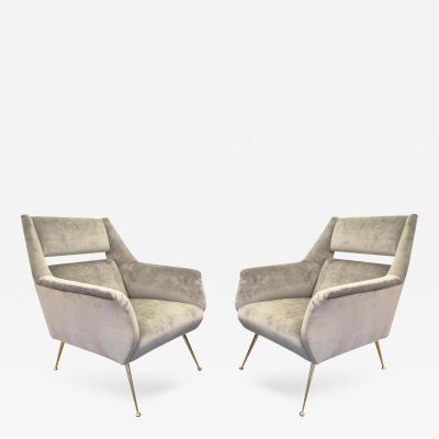 Gio Ponti Italian Mid Century Armchairs in the Style of Gio Ponti