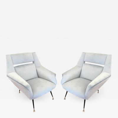 Gio Ponti Italian Mid Century Armchairs in the Style of Gio Ponti