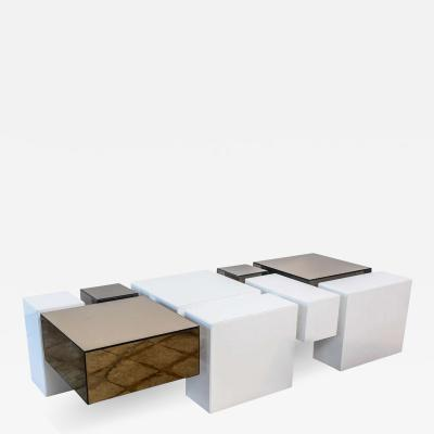 Gio Ponti Italian Modern Acrylic and Mirrored Geometric Low Table Gio Ponti