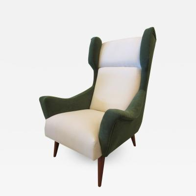 Gio Ponti Italian Modern Upholstered Wing Chair
