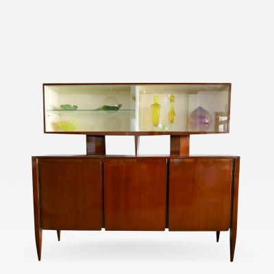 Gio Ponti Italian Modern Walnut Credenza with Display Superstructure Gio Ponti