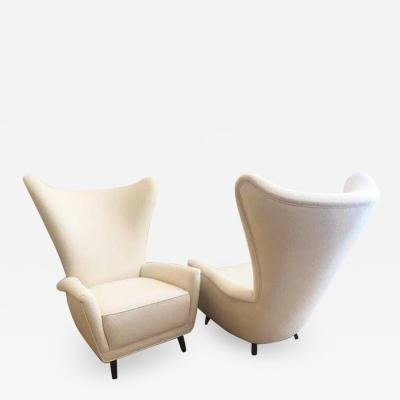 Gio Ponti Italian Wing Back Lounge Chair in Classic Pearl Boucl by Knoll