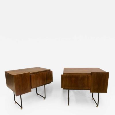 Gio Ponti Italian Wood Steel Midcentury Nightstands Side or End Tables Gio Ponti Pair