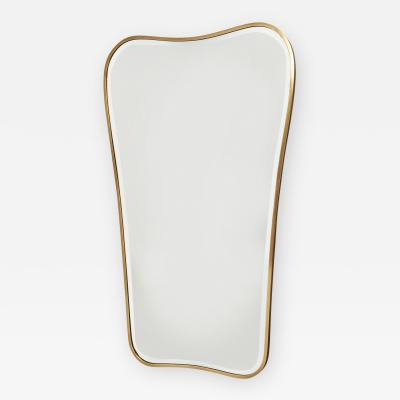 Gio Ponti Large Shaped Free Form Brass Mirror Italy 1950s