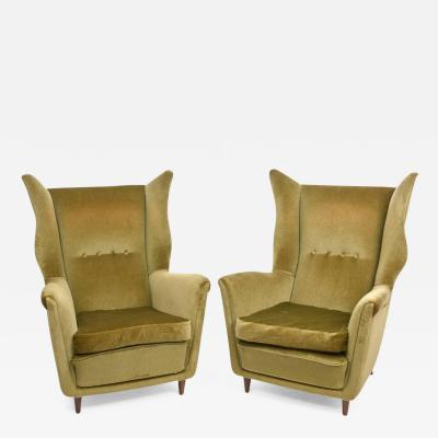 Gio Ponti Large and Imposing Pair of Italian Modern Lounge Chairs in Gio Ponti Style