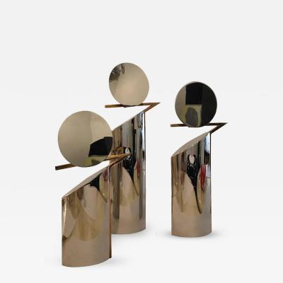 Gio Ponti Lino Sabattini Italian Mid Century Modernist Chrome and Brass Set of Three Candlesticks