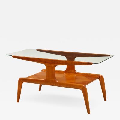 Gio Ponti Low Walnut and Glass Table
