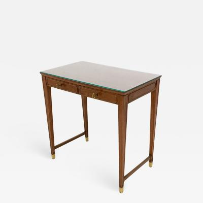 Gio Ponti Mahogany and Crystal Bedroom Writing Desk in the style of Gio Ponti Italy 1950s