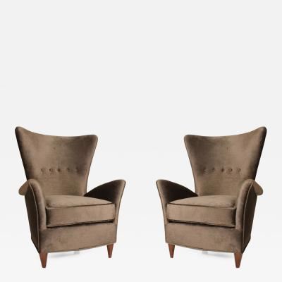Gio Ponti Mid Century Modern Arm Chairs by Gio Ponti for Bristol Hotel in Merano Italy